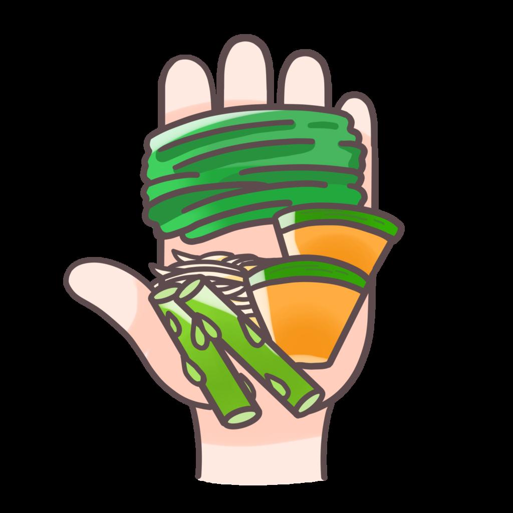 手計(てばかり)で加熱した1食分の野菜