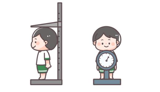 身長測定・体重測定をする子どものフリーイラスト