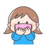 【防災・衛生】口をおさえる子どものかわいいフリーイラスト