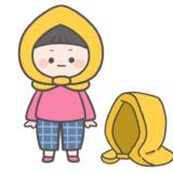 【防災】防災頭巾と防災頭巾をかぶったこどものかわいいフリーイラスト