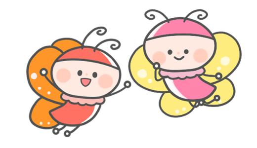 【春・動物】ちょうちょのかわいいフリーイラスト