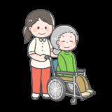 【介護・福祉】車いすを押す介護士さんのフリーイラスト