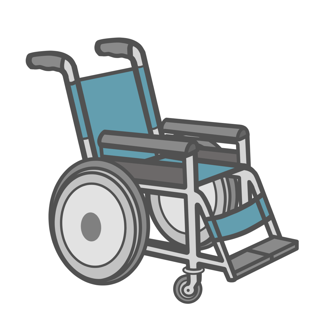 青い車椅子のフリーイラスト