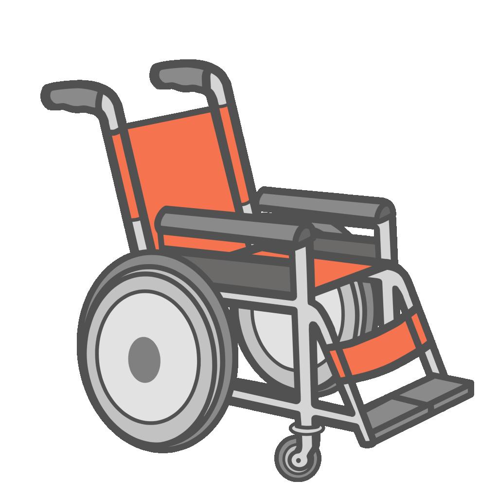 オレンジ色の車椅子のフリーイラスト