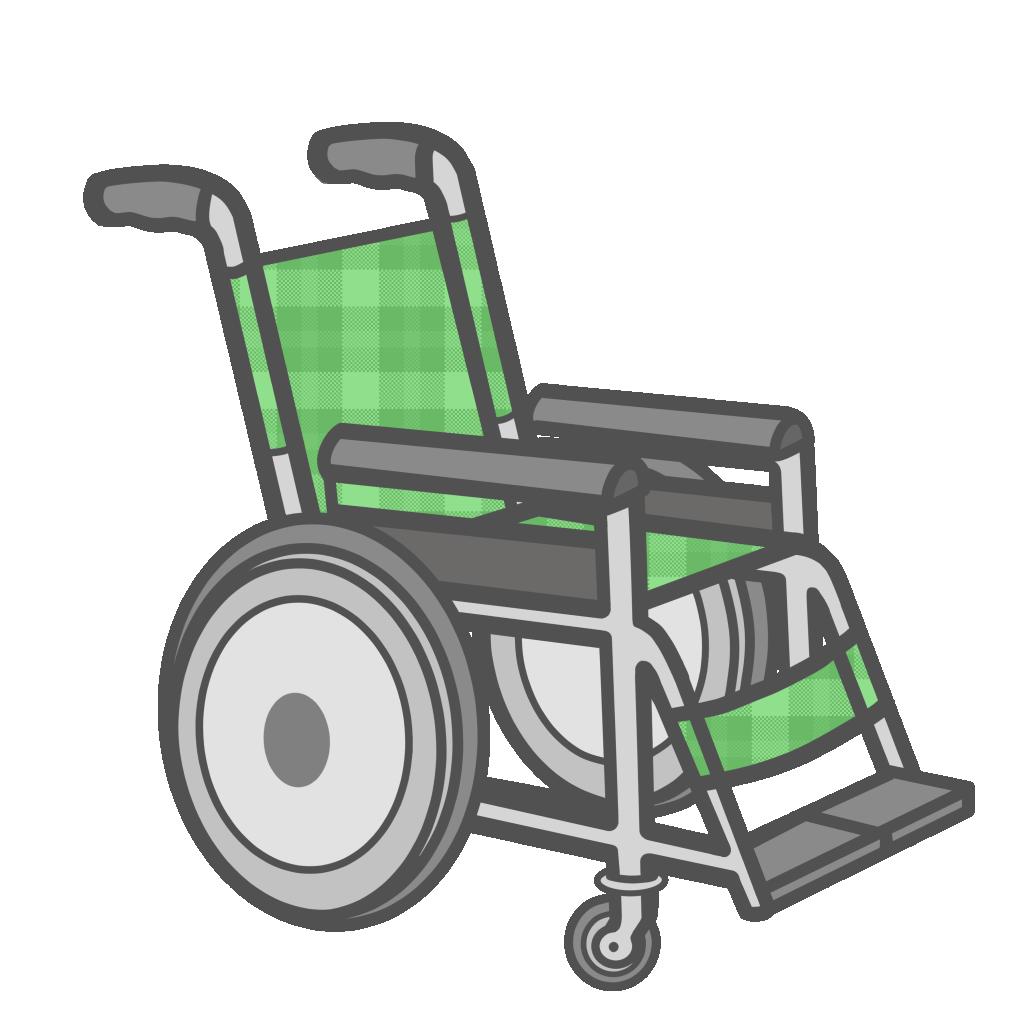 オレ緑色の車椅子のフリーイラスト