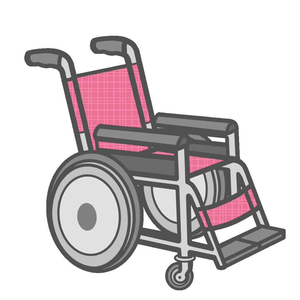 ピンク色の車椅子のフリーイラスト