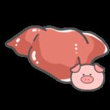 【食べ物・お肉】豚レバーのかわいいフリーイラスト