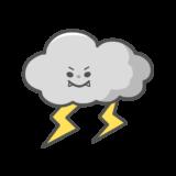 【生活・天気】雷と雲のかわいいフリーイラスト